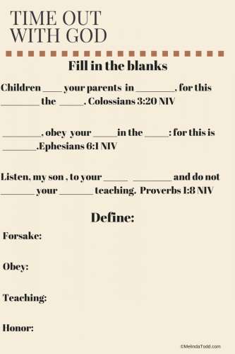 Teaching children biblical obedience with free worksheets