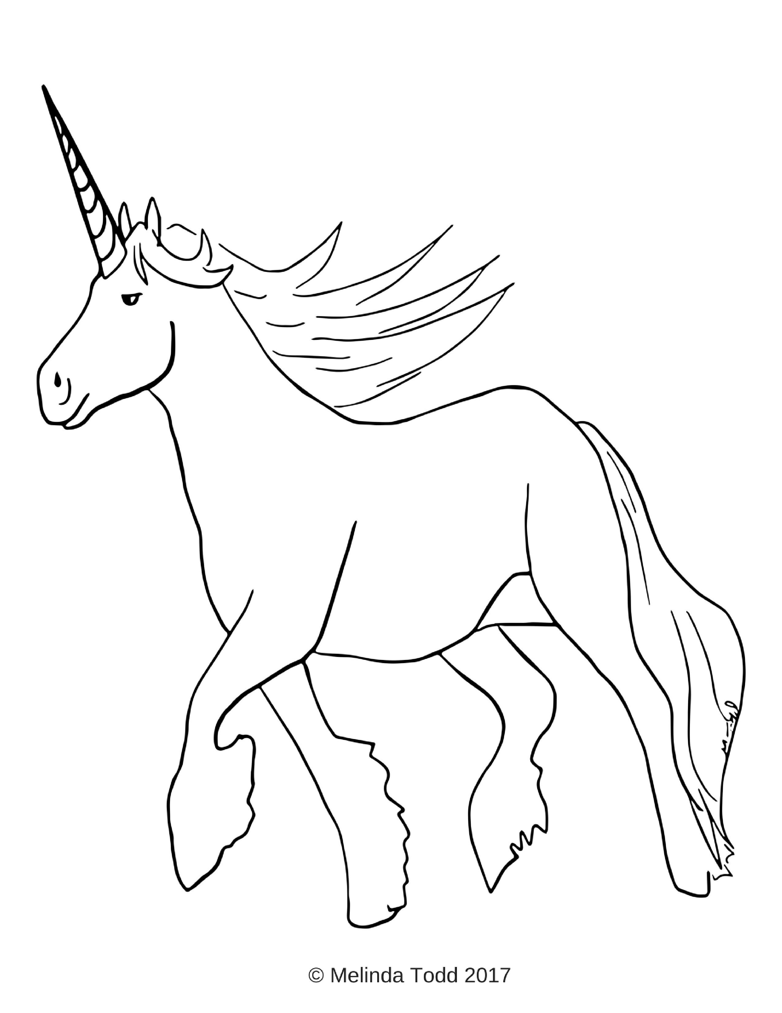 Free Simple Unicorn Coloring Page For All Ages by Mel's ...